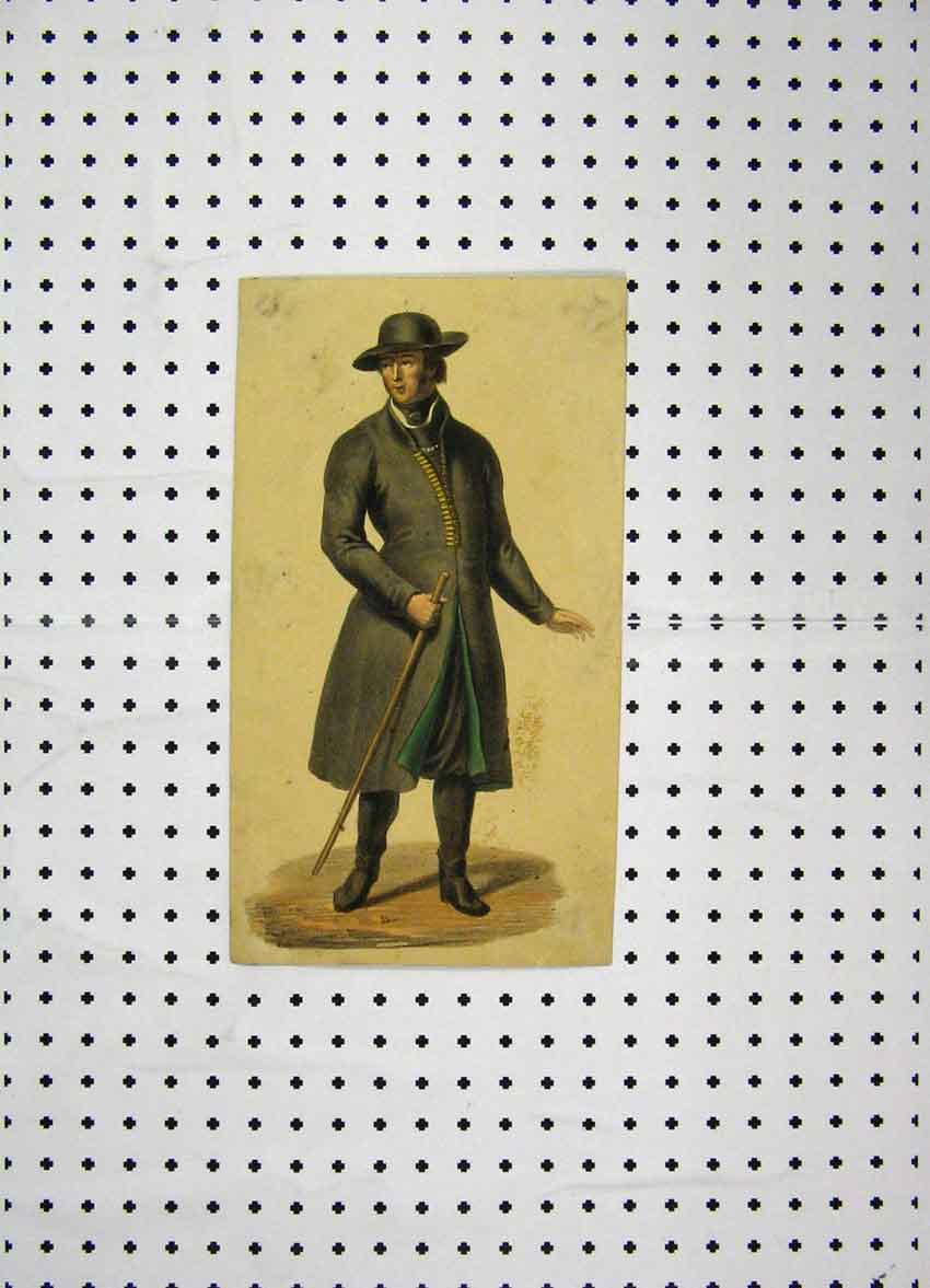 Print C1800 Costumes World Man Walking Stick Colour 193A102 Old Original