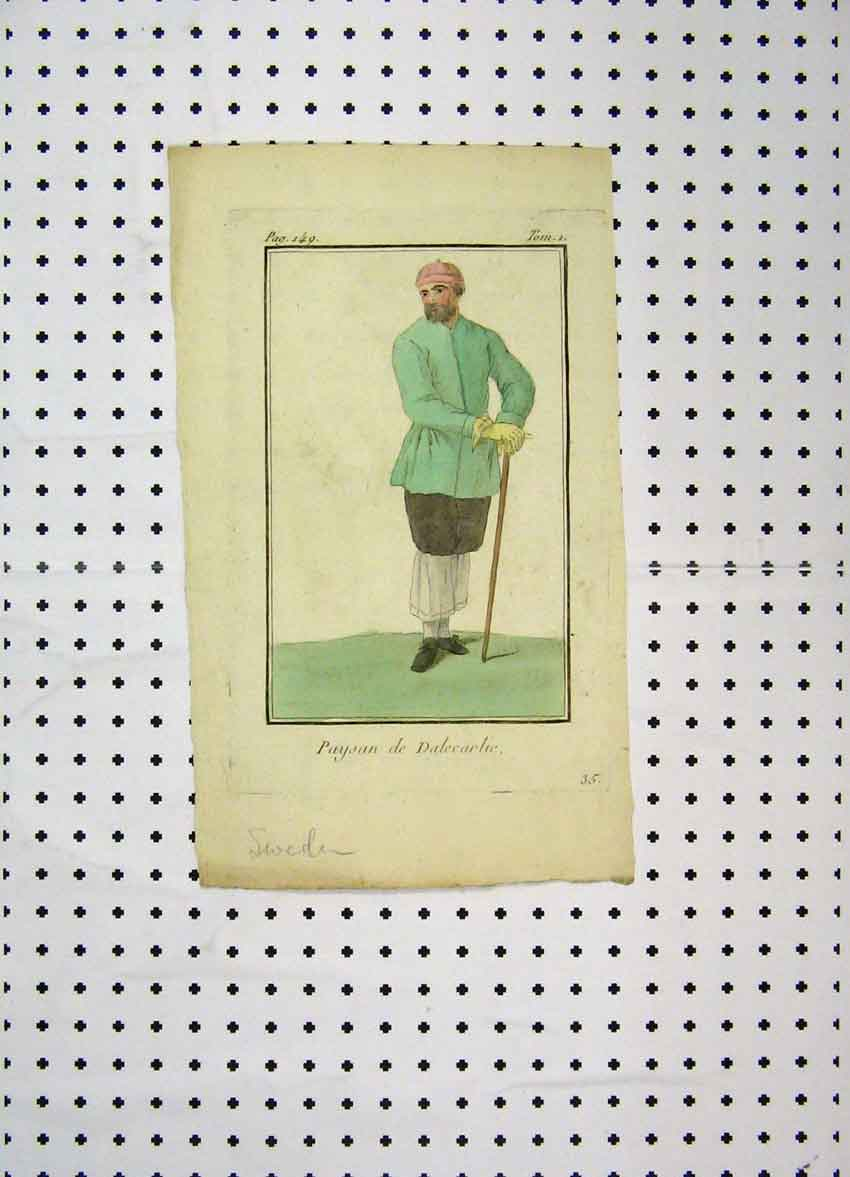 Print C1800 Sweden Man Colour Costumes World Stick 195A102 Old Original