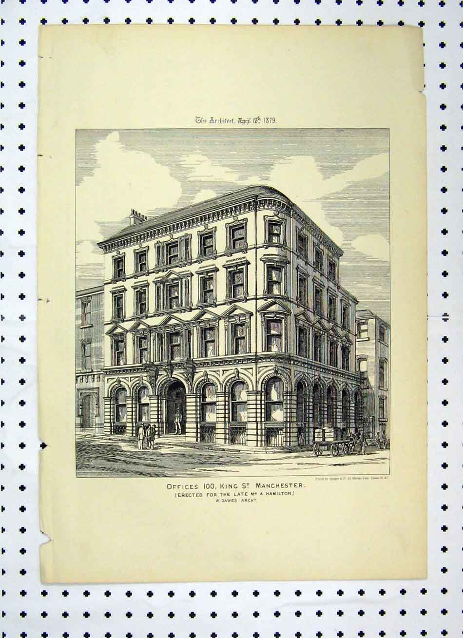 Print Offices 100 King Street Manchester 1879 Hamilton 109A104 Old Original