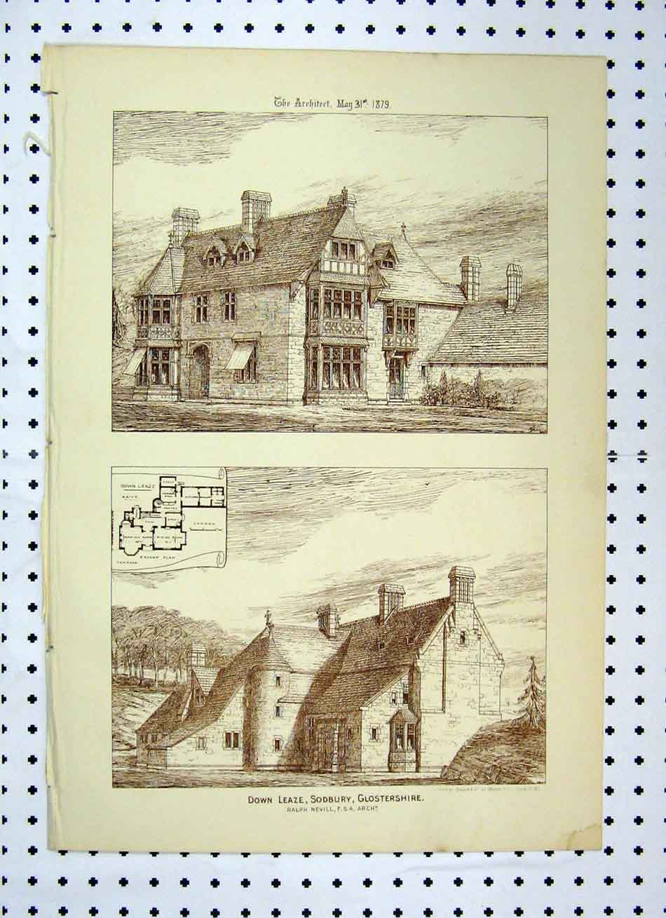 Print 1879 Down Leaze Sodbury Glostershire Building 123A104 Old Original
