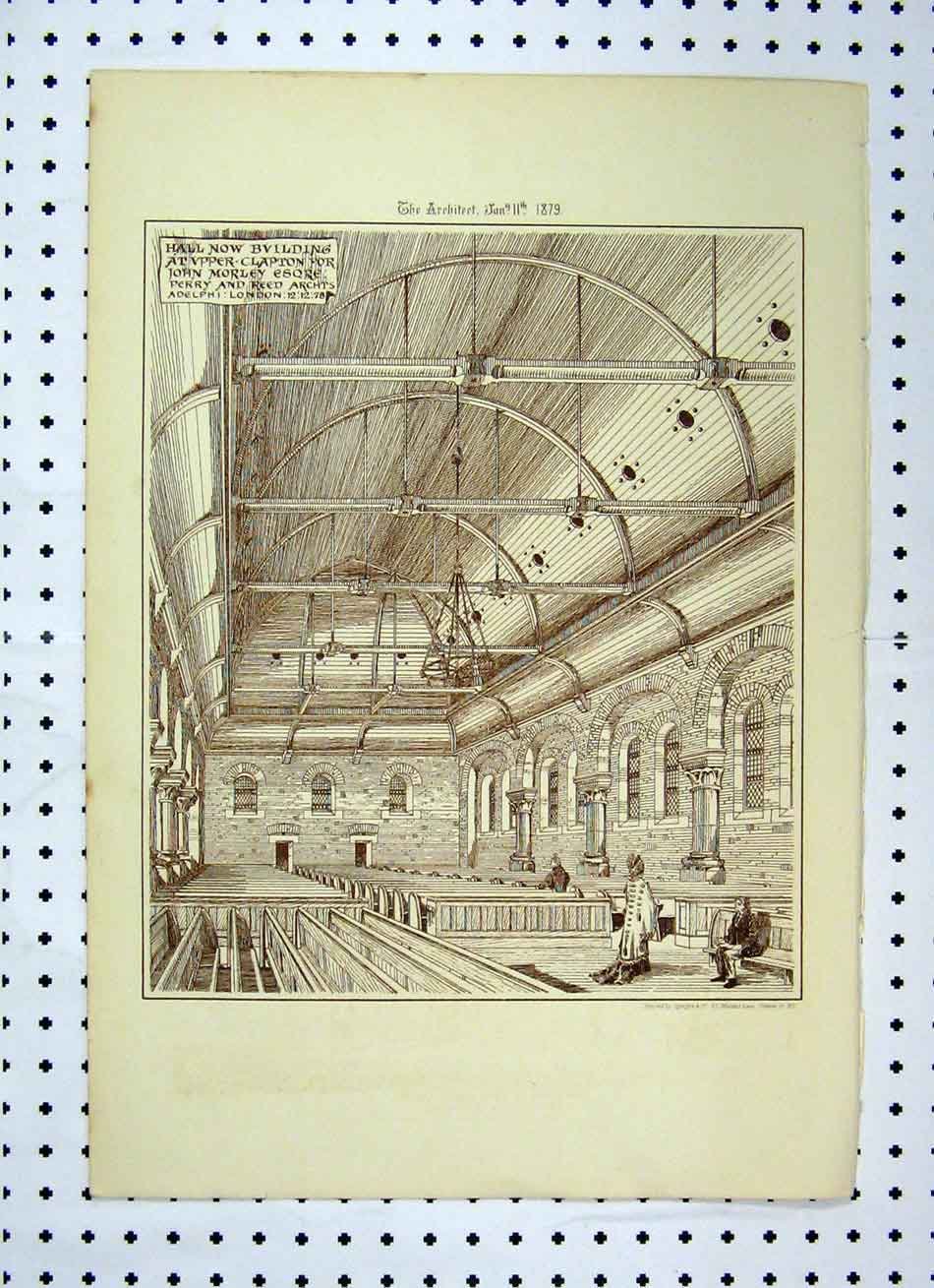 Print Hall Building Church John Morley Perry Reed 1879 133A104 Old Original