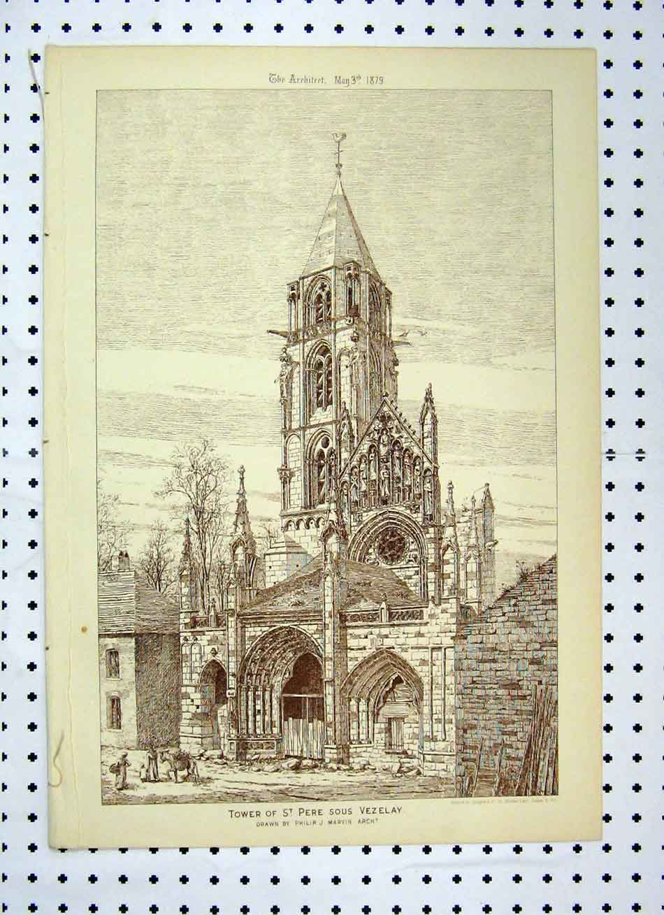 Print Tower St Pere Sous Vezelay 1879 Philip Marvin 136A104 Old Original