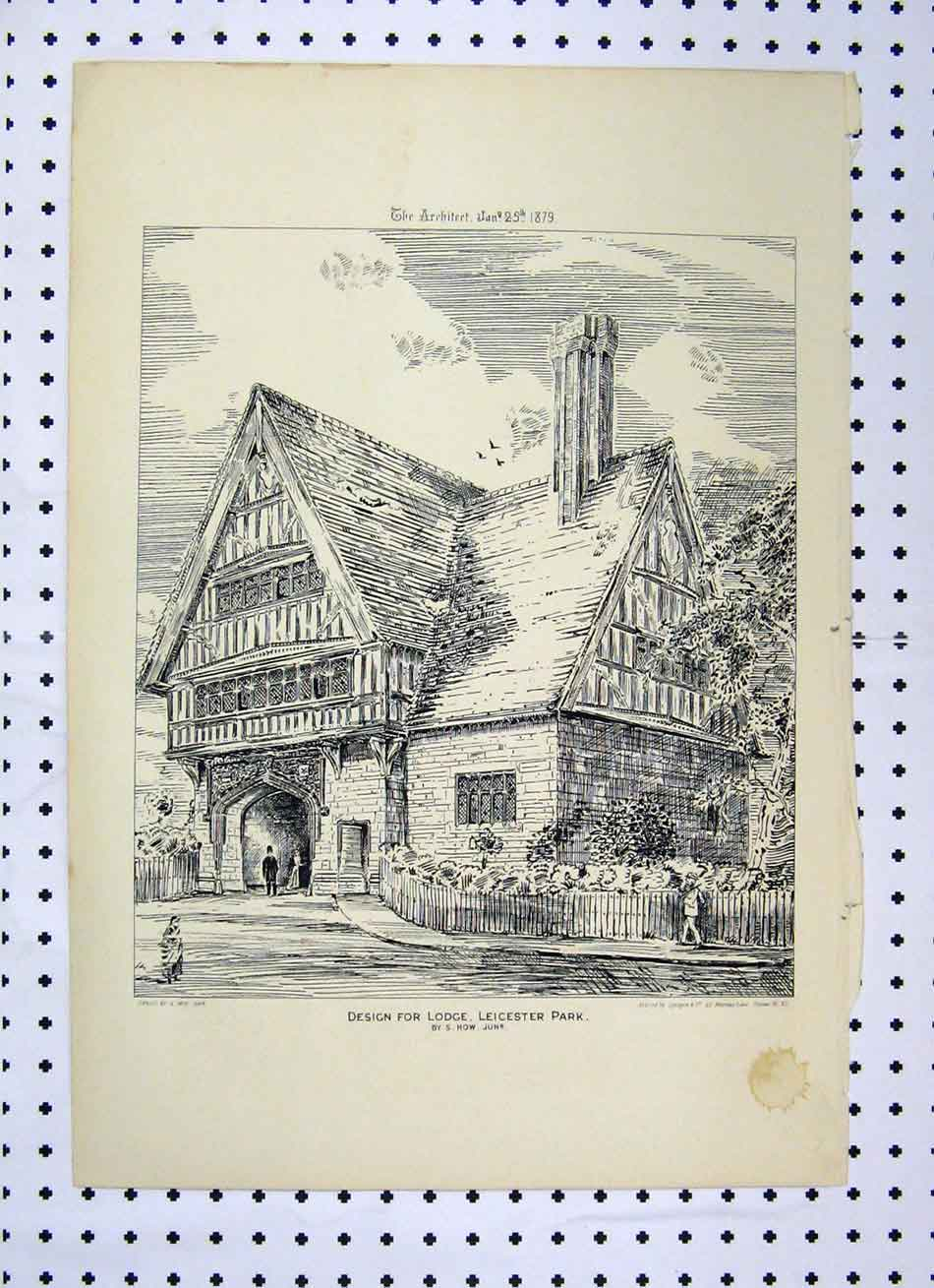 Print Design Lodge Leicester Park 1879 How Building 138A104 Old Original