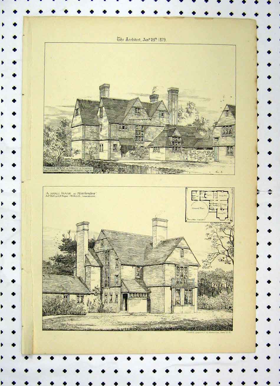 Print Small House Northenden 1879 House Stables Formby 141A104 Old Original