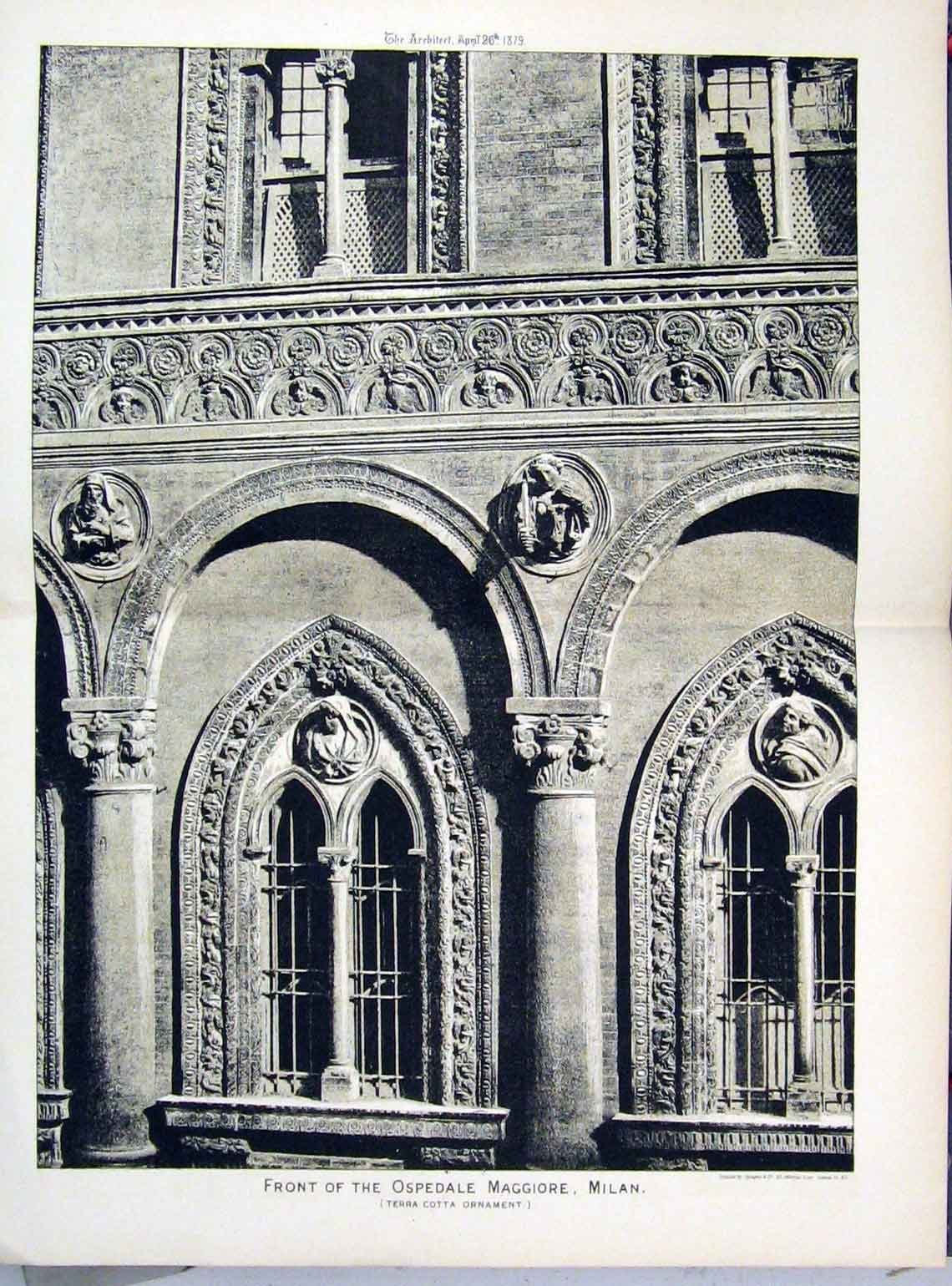 Print 1879 Front View Ospedale Maggiore Milan 148A104 Old Original