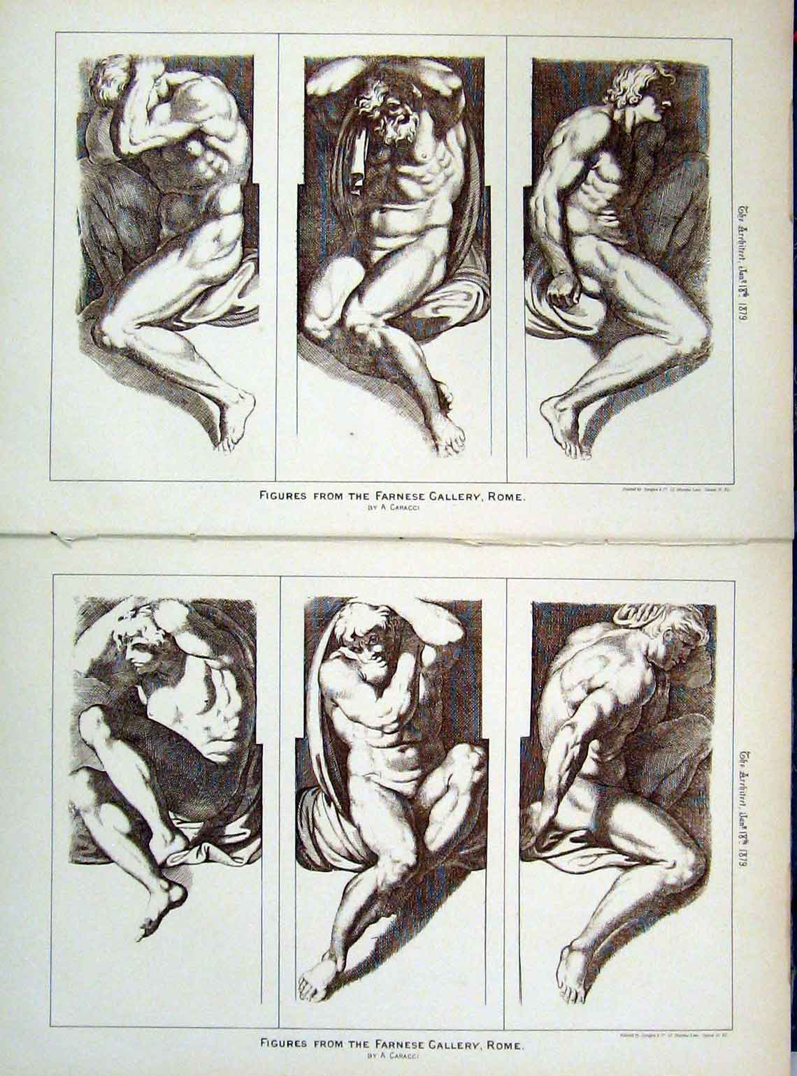 Print 1879 Figures Farnese Gallery Rome Naked Man 149A104 Old Original