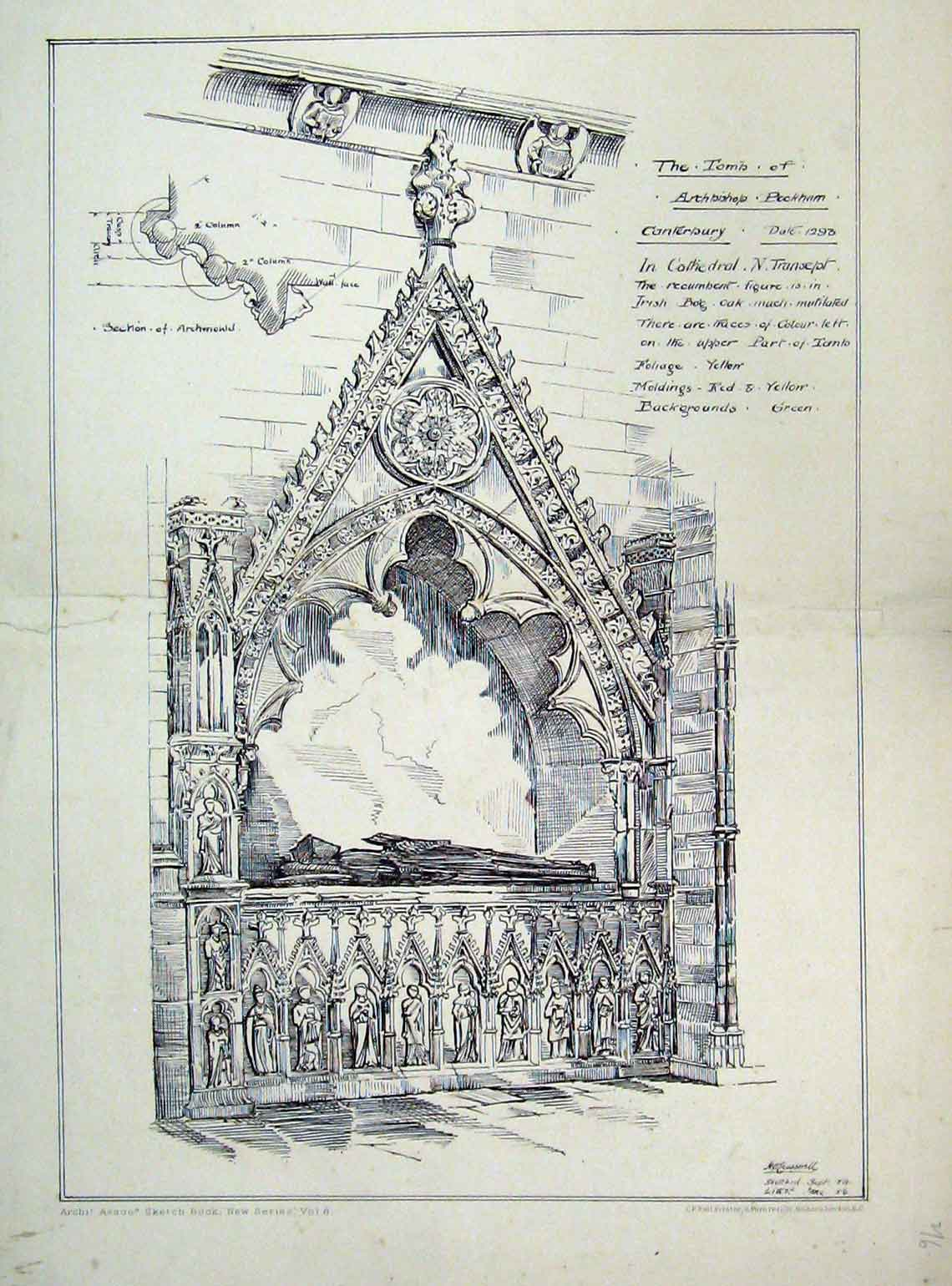 Print Tomb Archbishop Peckam Cathedral Tomb 1879 153A104 Old Original