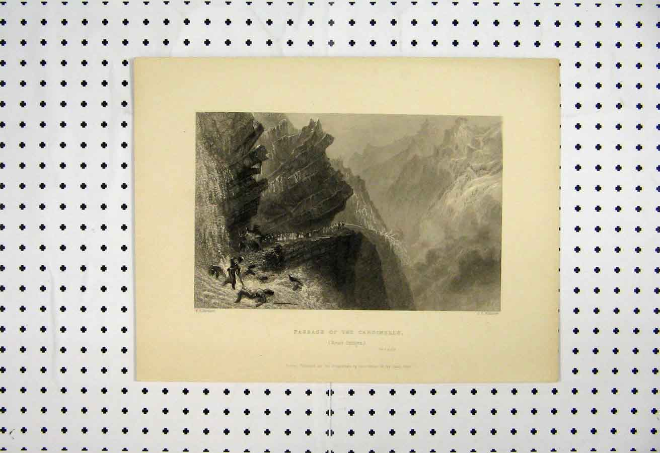 Print 1837 Passage Cardinells Mount Splugen Bartlett Willmore 101A105 Old Original