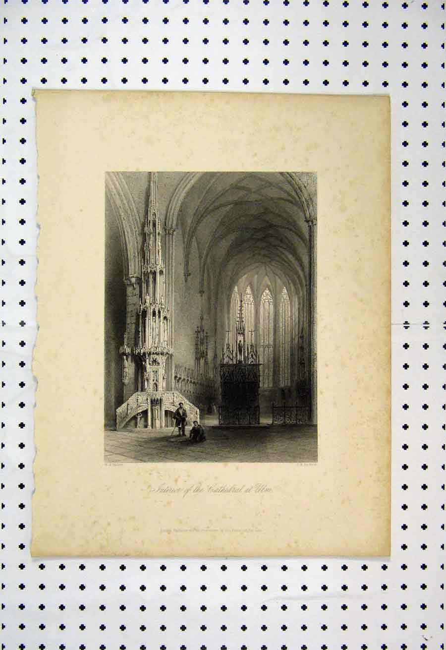 Print Interior Cathedral Ulm Bartlett Keux 1837 105A105 Old Original