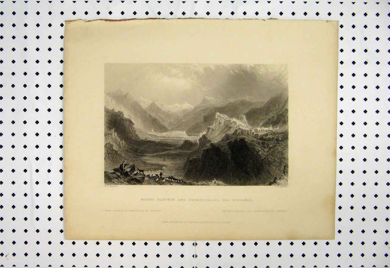 Print Mount Dauphin Champcellas Durance 1837 Mountain Scene 112A105 Old Original