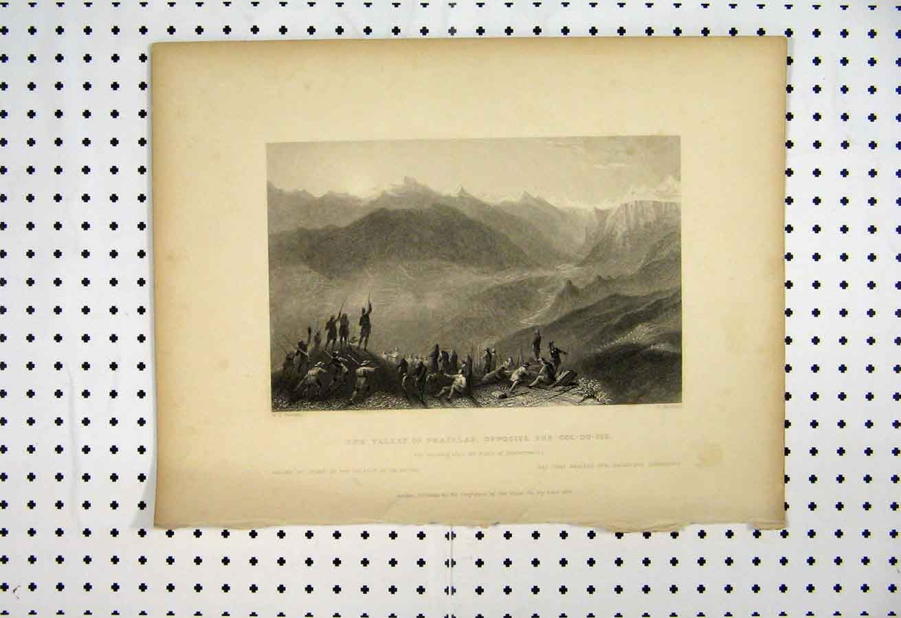 Print Valley Prajelas Col-Du-Pis 1837 Bartlett Griffiths 116A105 Old Original