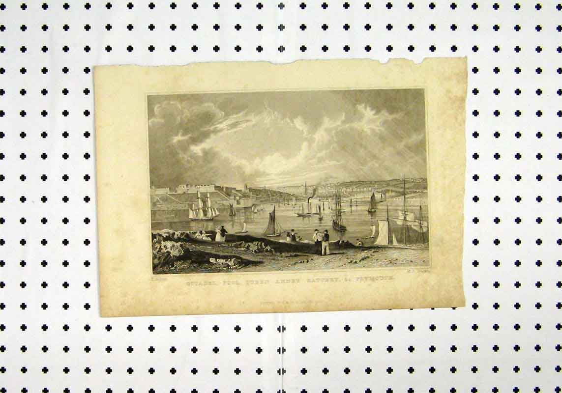 Print View Citadel Pool Queen Anne Battery Plynouth Shipc1836 111A106 Old Original