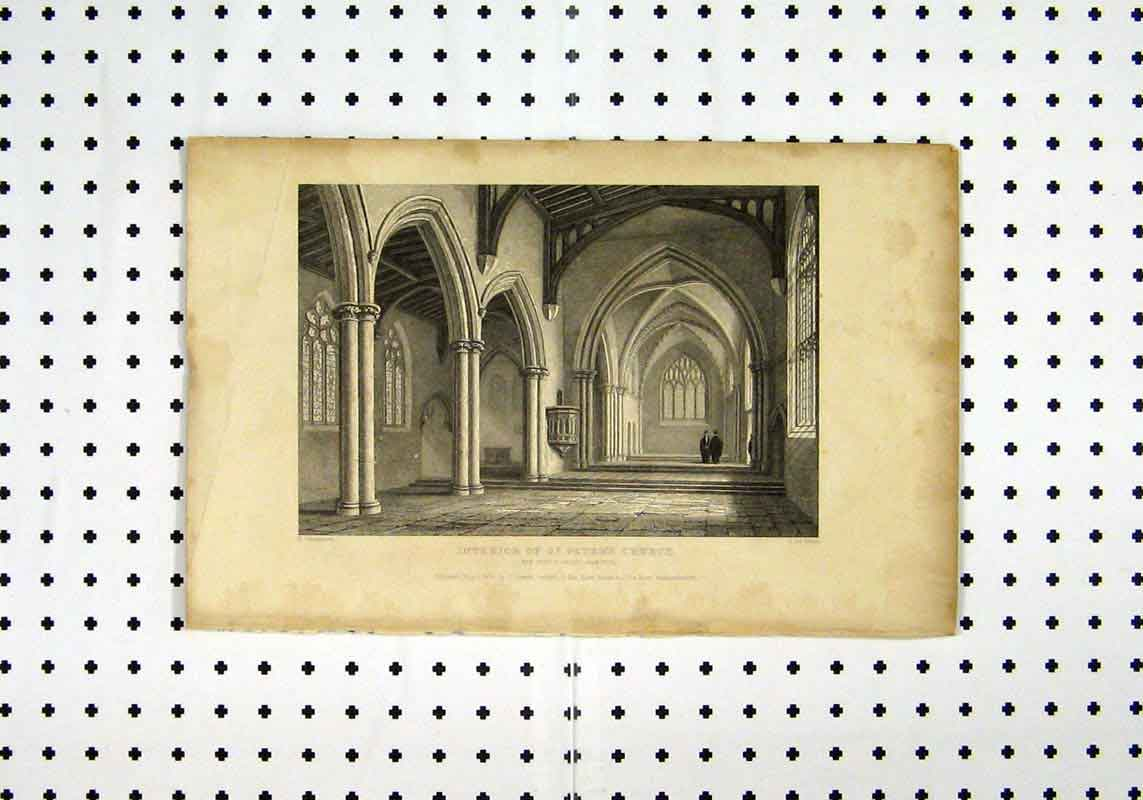 Print C1836 View Interior St Peters Church Mackenzie Keux 114A106 Old Original