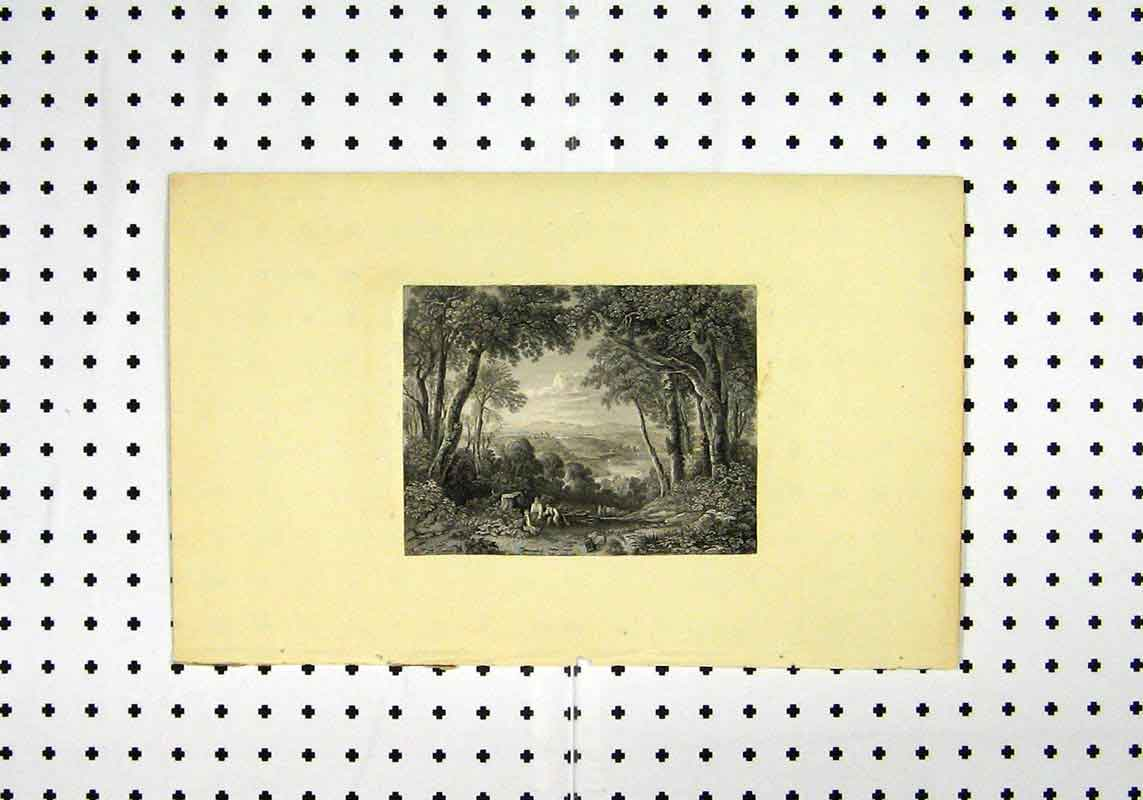 Print C1836 Country Scene Trees People Picnic 127A106 Old Original