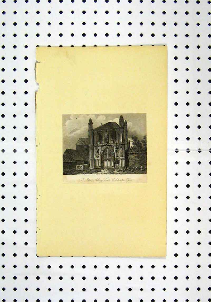 Print View St Johns Abbey Gate Colchester C1836 131A106 Old Original