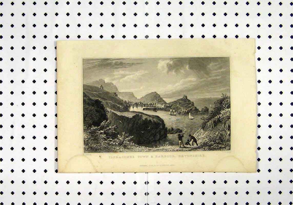 Print View Ilfracombe Town Harbour Devonshire C1836 Allom 160A106 Old Original