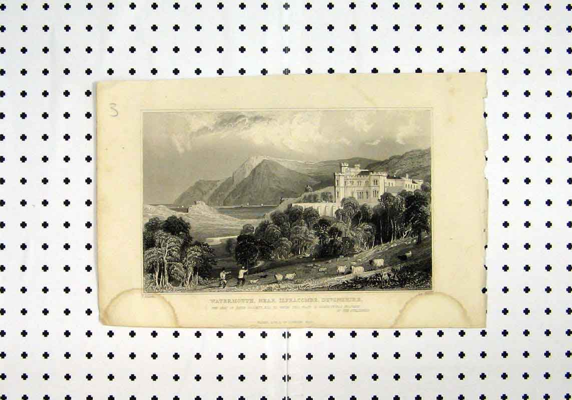 Print View Watermouth Ilfracombe Devonshire C1836 Allom 162A106 Old Original