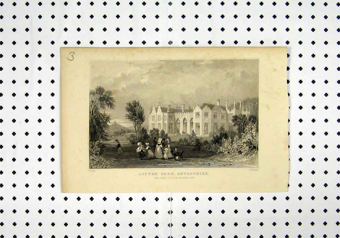 Print View Lifton Park Devonshire C1836 Arundel Allan Thomas 163A106 Old Original