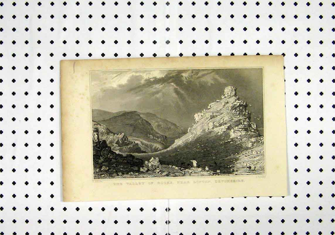 Print C1836 View Valley Rocks Linton Devonshire Allorn Lowry 175A106 Old Original