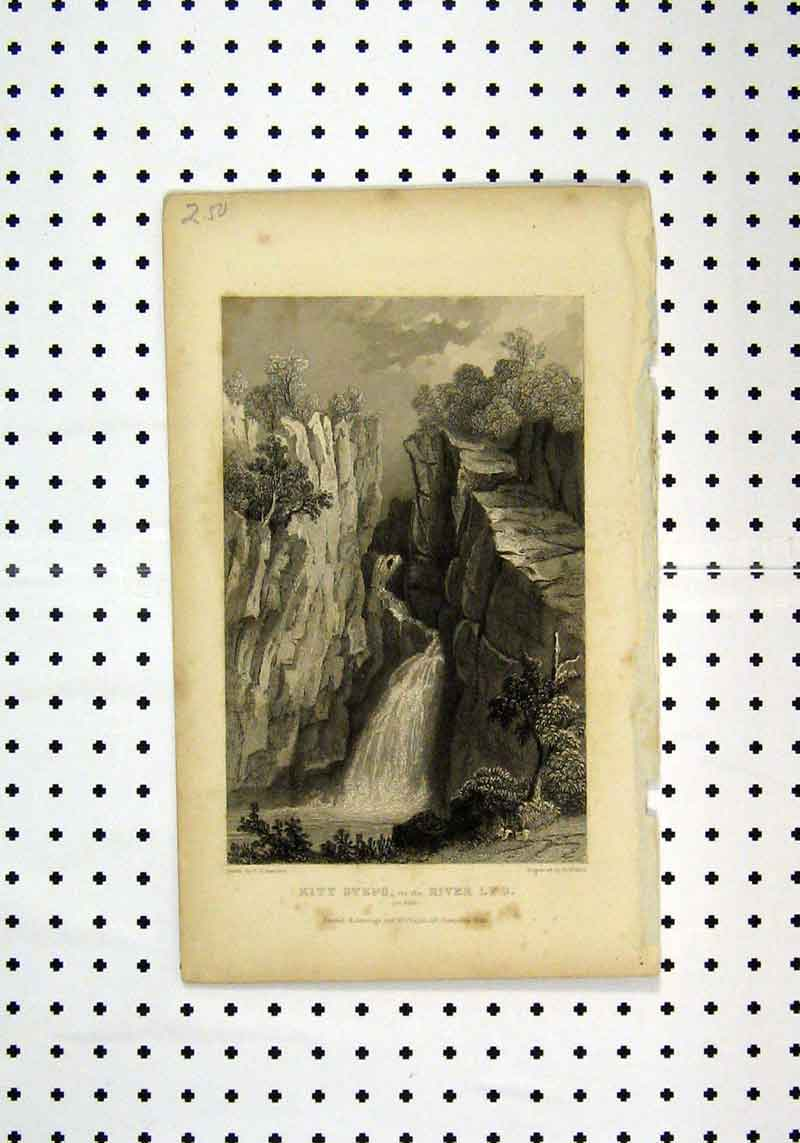 Print View Kitt Steps River Lyd Devon C1836 Bartlett Wallis 177A106 Old Original