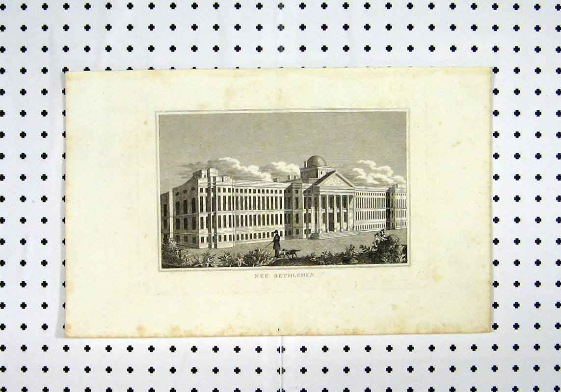 [Print View Neu Bethlehem C1836 Building Man Dog 181A106 Old Original]