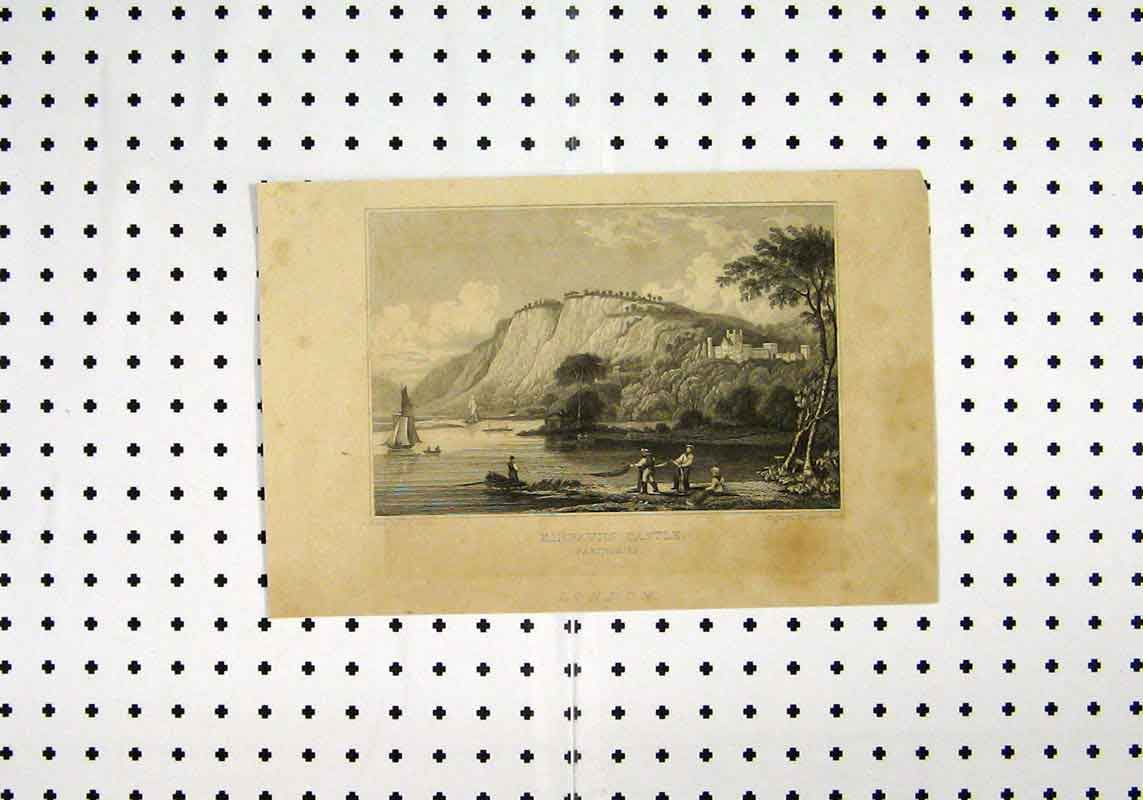 Print View Kinfauns Castle Perthshire C1836 Men Fishing Boat 182A106 Old Original