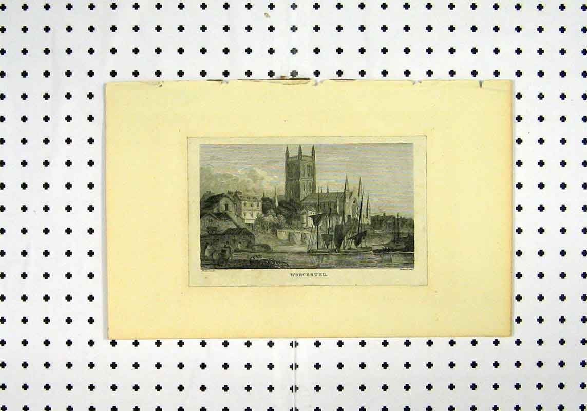 Print View Worcester Town Scene Church C1836 193A106 Old Original
