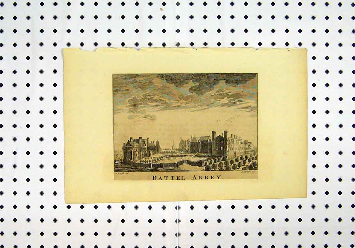 Print View Battel Abbey C1836 Ralph Ryland 195A106 Old Original