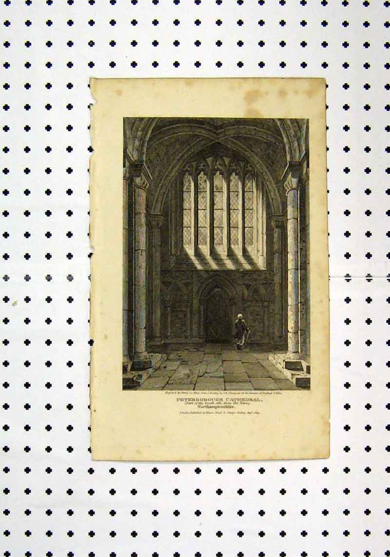 Print Interior View Peterborough Cathedral C1836 Henry 199A106 Old Original