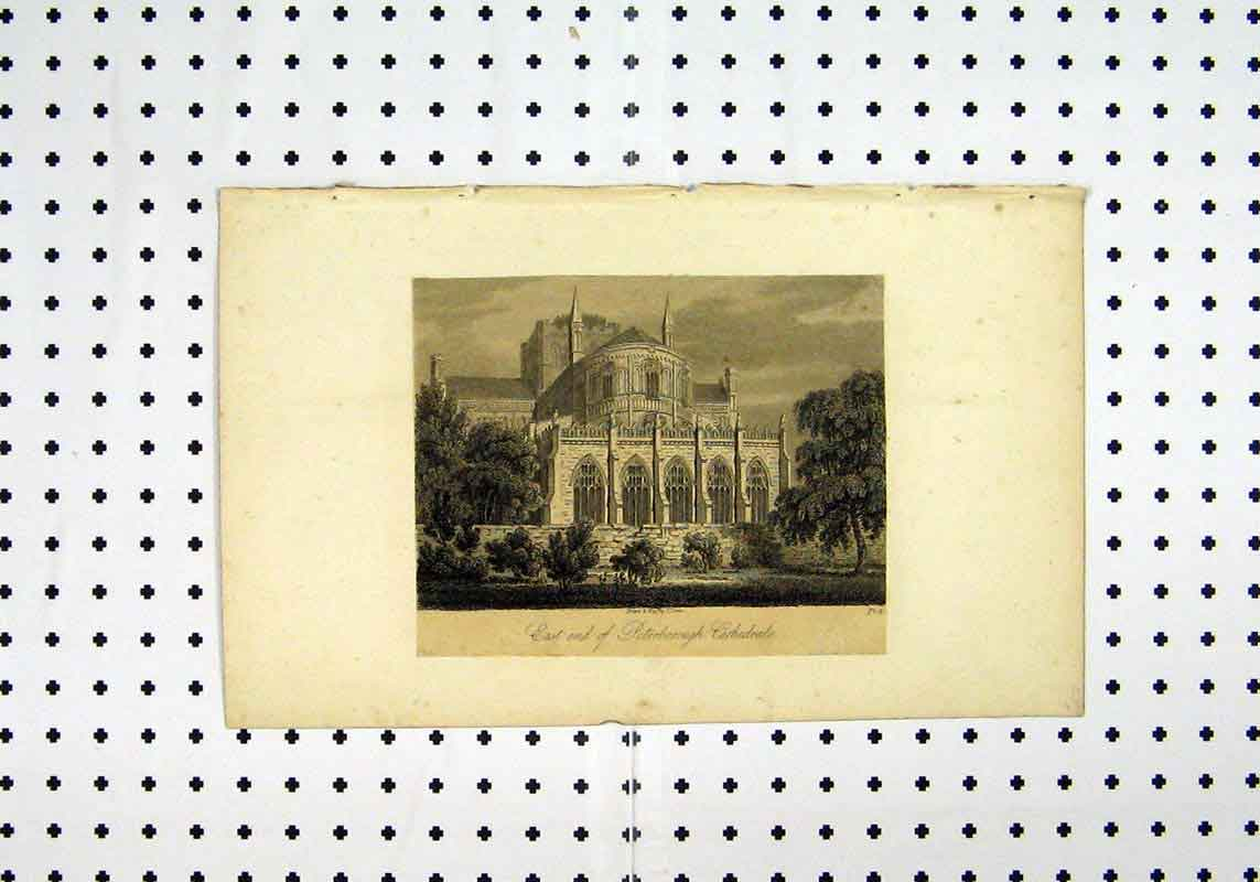 Print East End View C1836 Peterborough Cathedral 202A106 Old Original