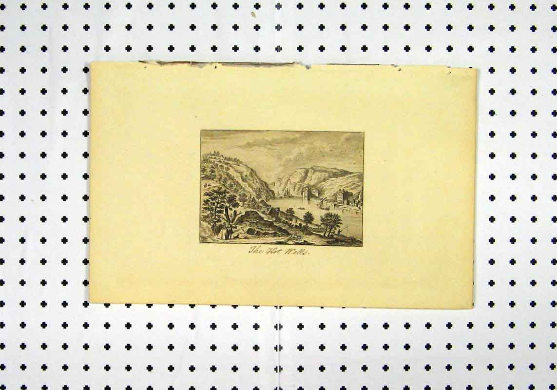 Print View Hot Wells C1836 River Mountains Boat Country Scene 206A106 Old Original