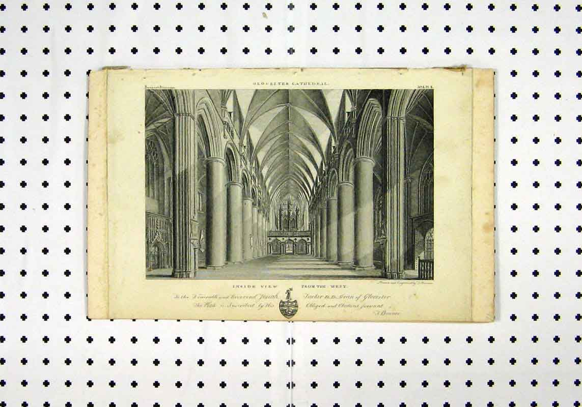 Print Inside View Glocester Cathedral C1836 Bonnor 212A106 Old Original