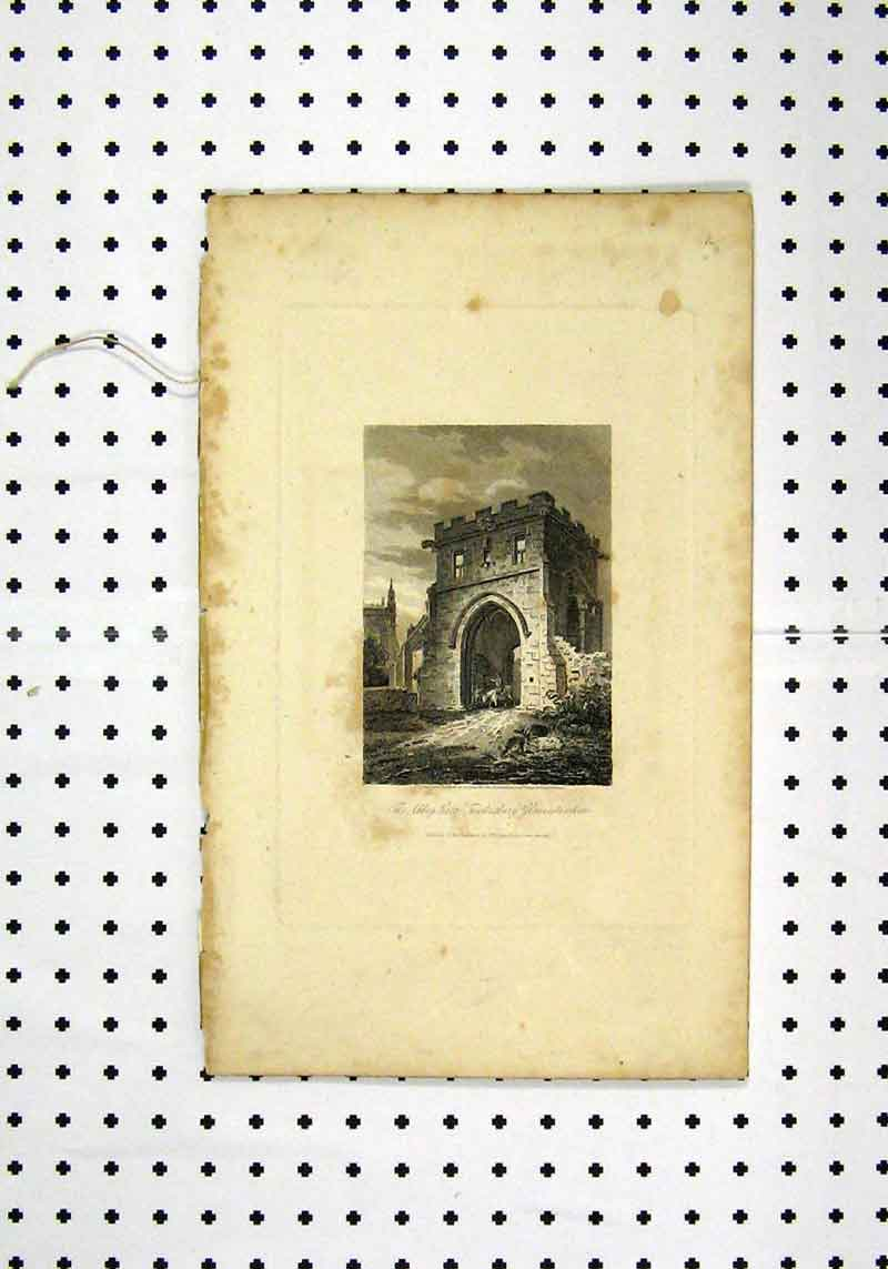 Print View Abbey Gate Gloucestershire C1836 215A106 Old Original