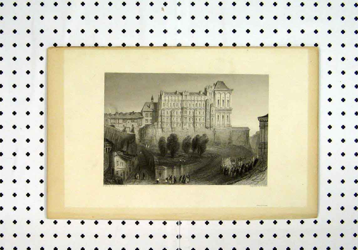 Print View Town Scenery Buildings C1836 People Turner Wallis 236A106 Old Original