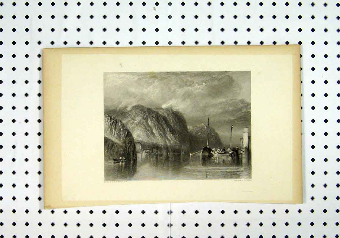 Print Sea Views C1836 Scenery Boat Cliff Turner Miller 238A106 Old Original