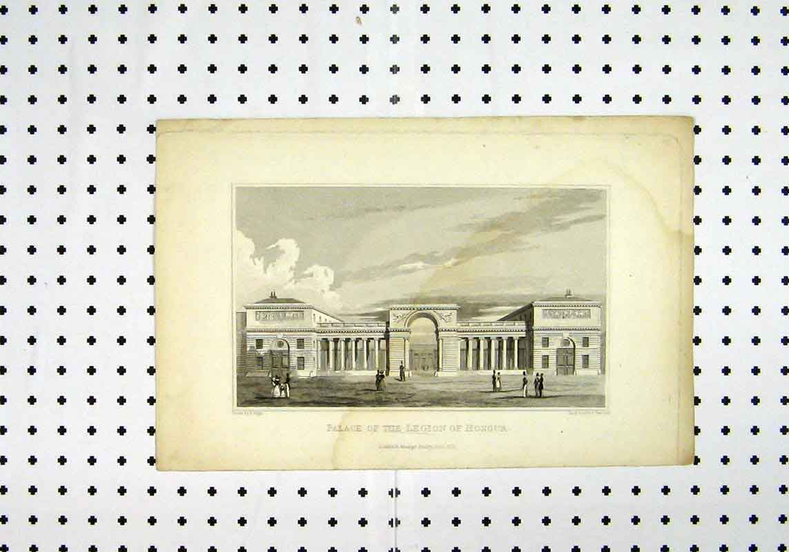 Print View Palace Legion Honour C1836 Pugin Henshall 242A106 Old Original