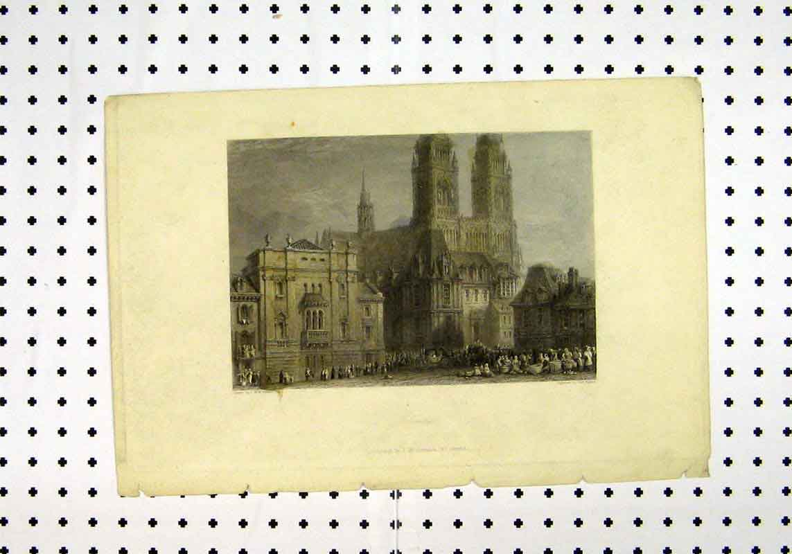 Print Orleans C1836 Building Turner Higham 250A106 Old Original