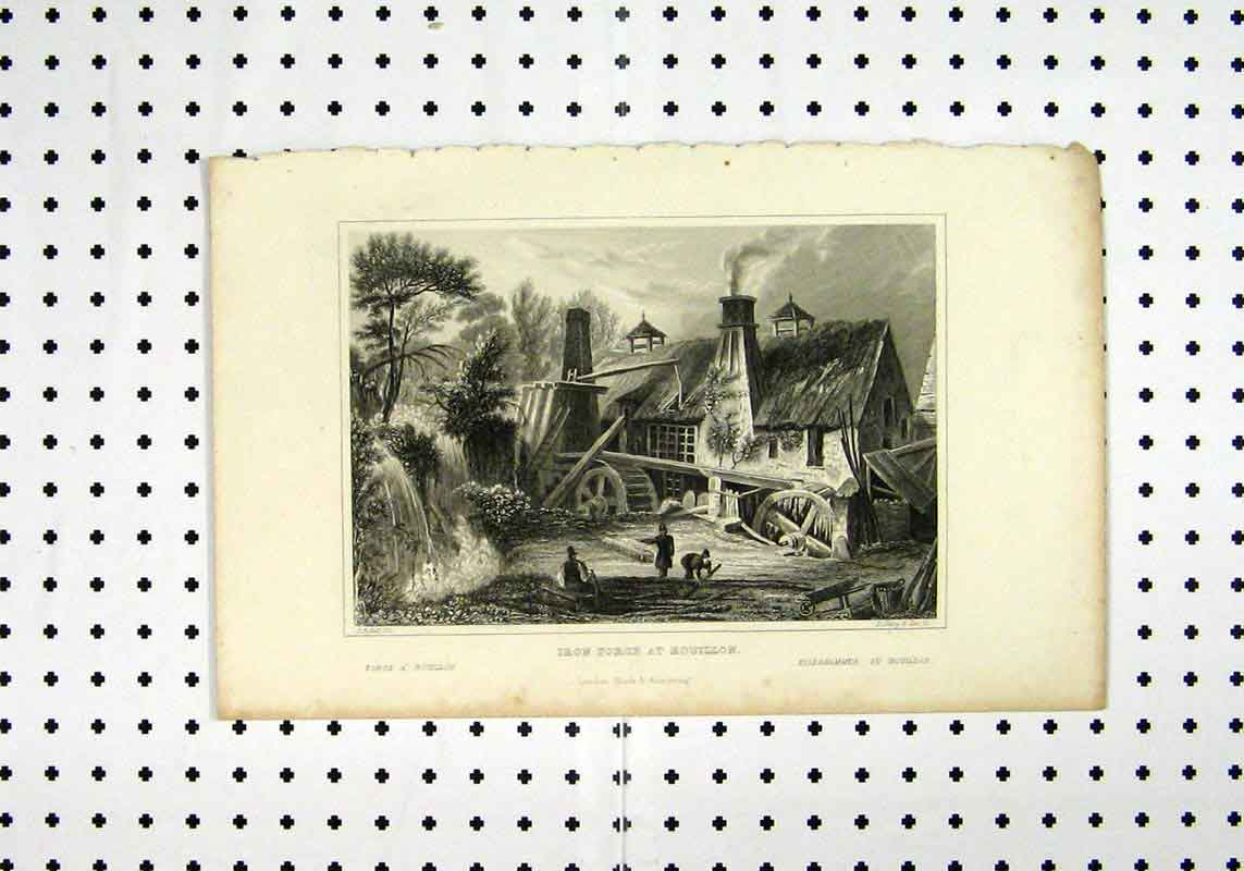 Print C1836 Iron Forge Rouillon Fufsell Shury 253A106 Old Original