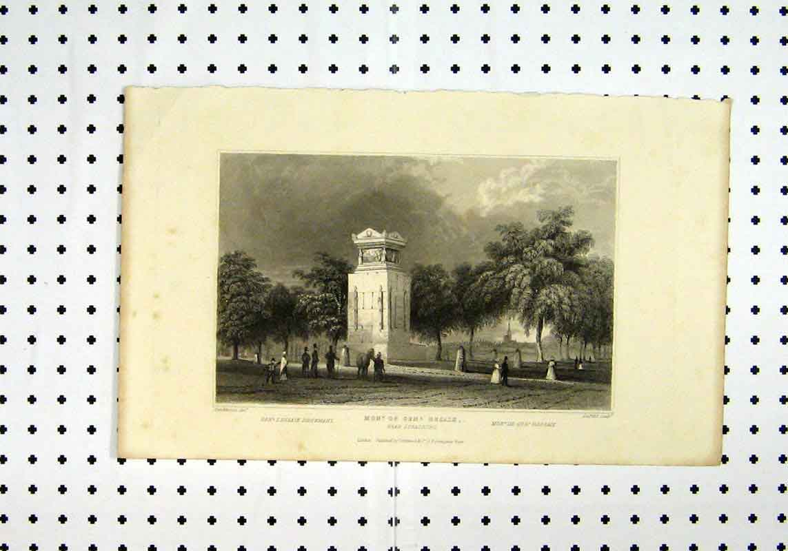 Print C1836 Monument Dessaix Country Scene Tomblesons Lepetit 256A106 Old Original