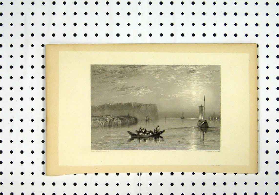 Print Scenery Sun Boat Cliffs C1836 Turner Wallis 261A106 Old Original