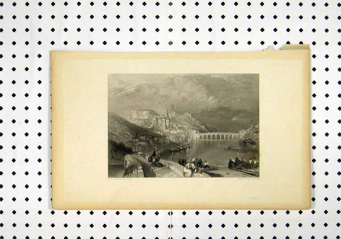 Print C1836 Scenery Bridge Moutain Boat Turner Brandard 262A106 Old Original