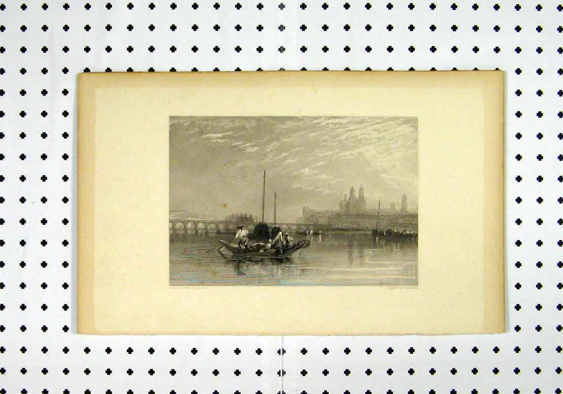 Print Belneen Clairmont Mauves Boat Mountain Turner Miller 266A106 Old Original