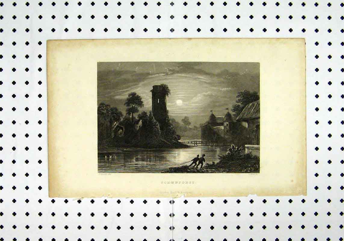Print Schoenforst C1836 River Scene Sunset Fussell 274A106 Old Original