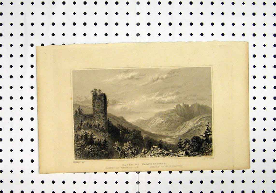 Print C1836 Ruins Walterspurg Mountain Scene Tombleson Lacey 277A106 Old Original