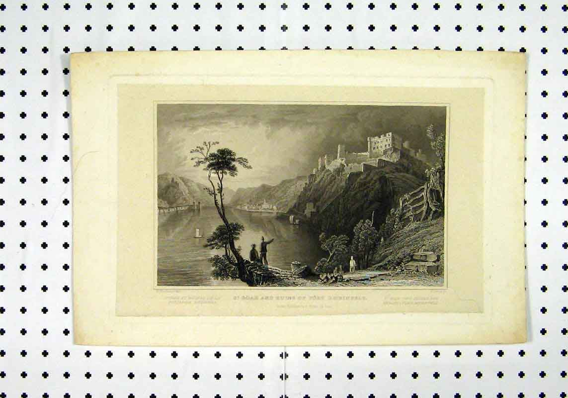 Print C1836 St Goar Ruins Fort Rheinfels Sea View Tombleson 278A106 Old Original