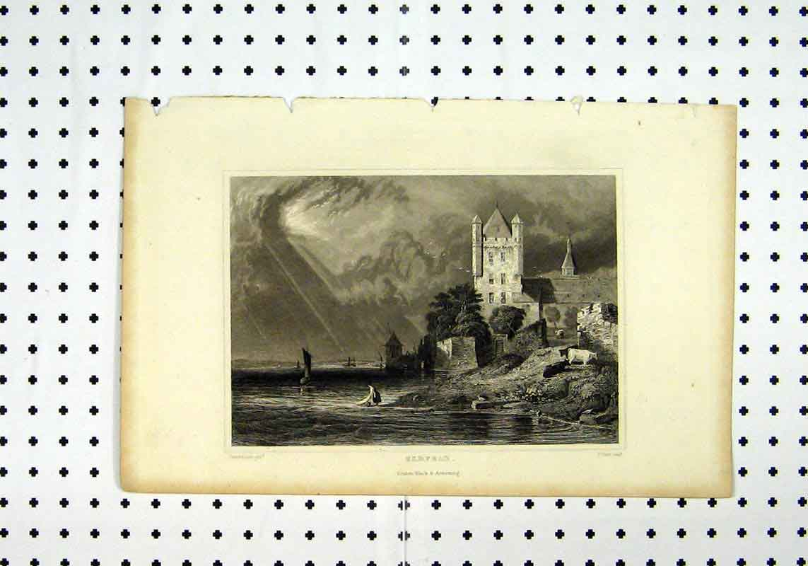Print C1836 View Eldfeld Sea Sunset Tomblesons Field 280A106 Old Original