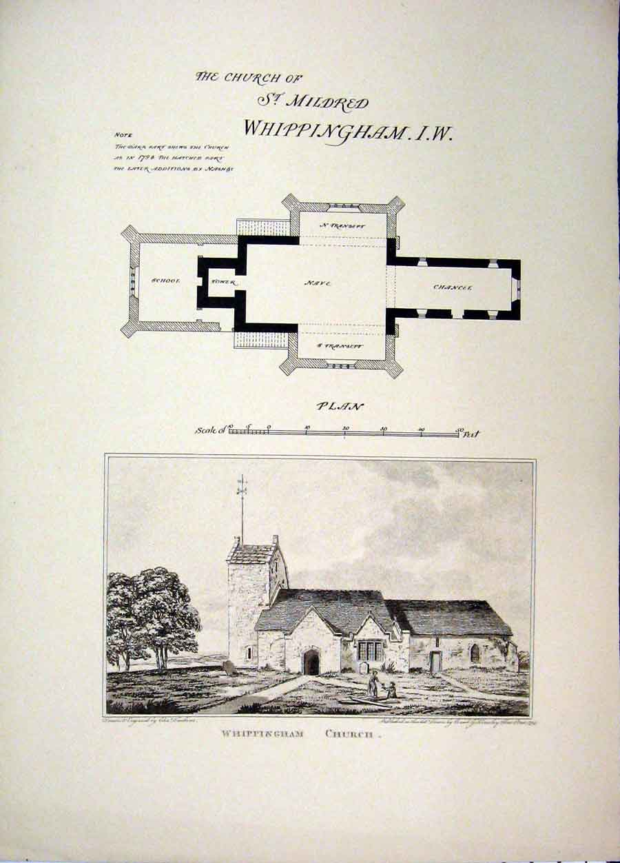 Print Church St Mildred Whippingham C1890 Plan Country Scene 107A107 Old Original