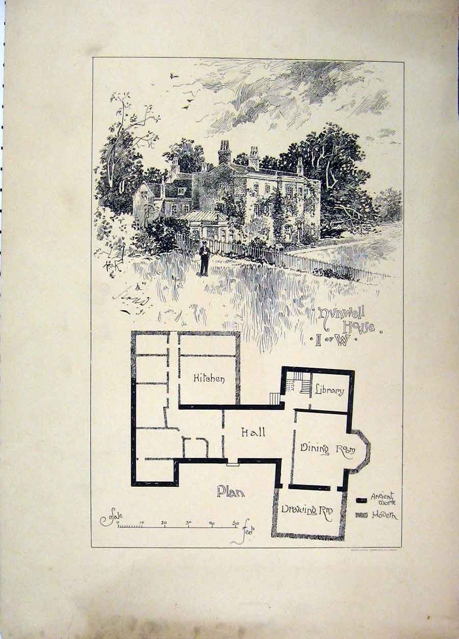 Print Nvnwell House Plan C1890 Country Scene 109A107 Old Original