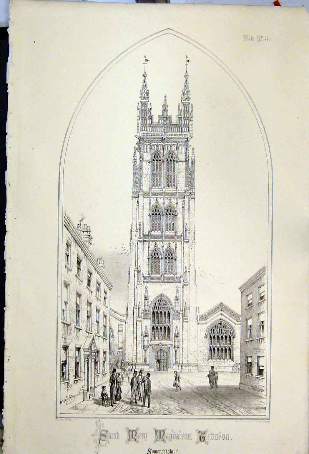 Print Saint Mary Magdalfue Taunton 1855 Somersetshire Wickes 103A108 Old Original