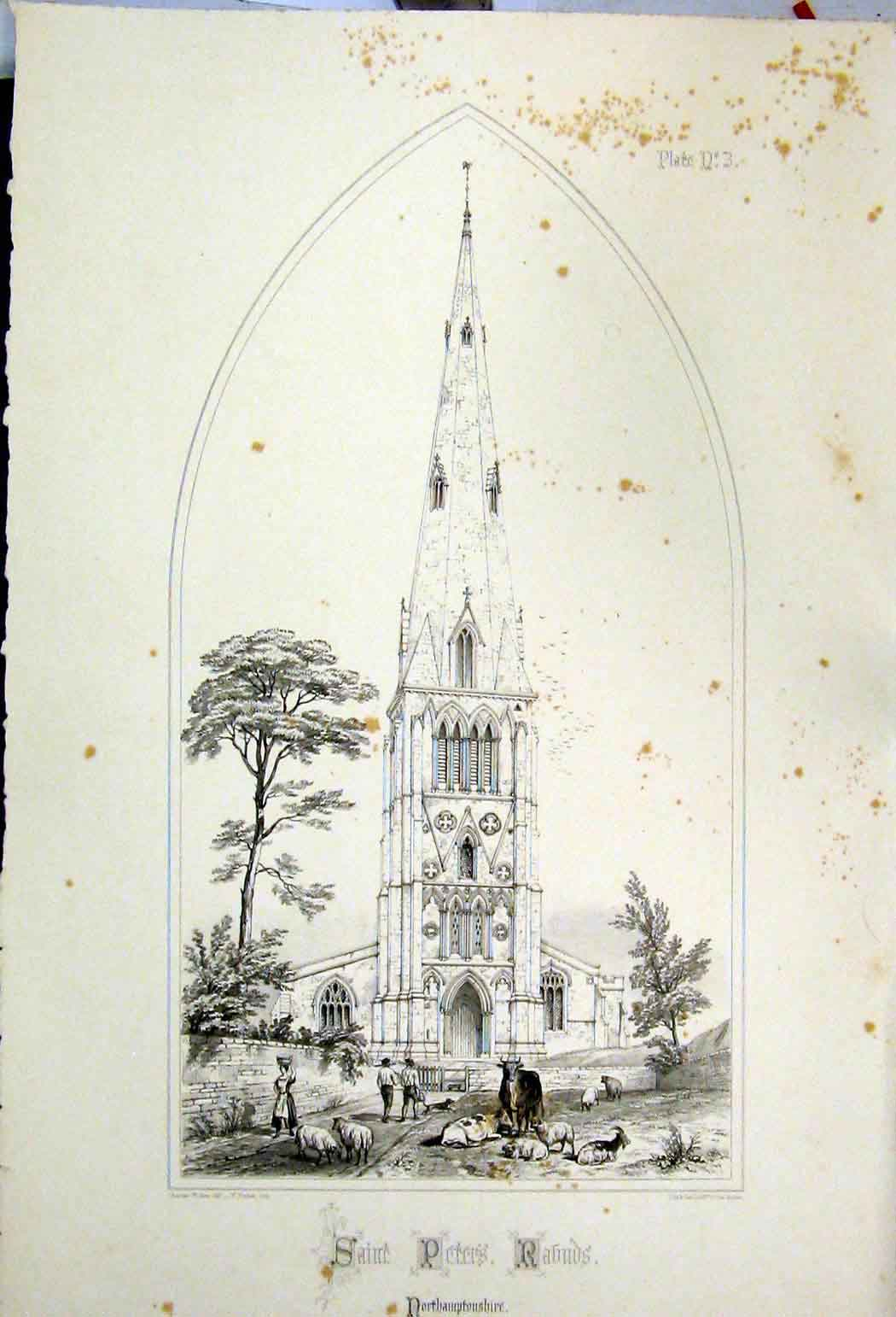 Print 1855 Saint Peters Church Northamptonshire Wickes 113A108 Old Original